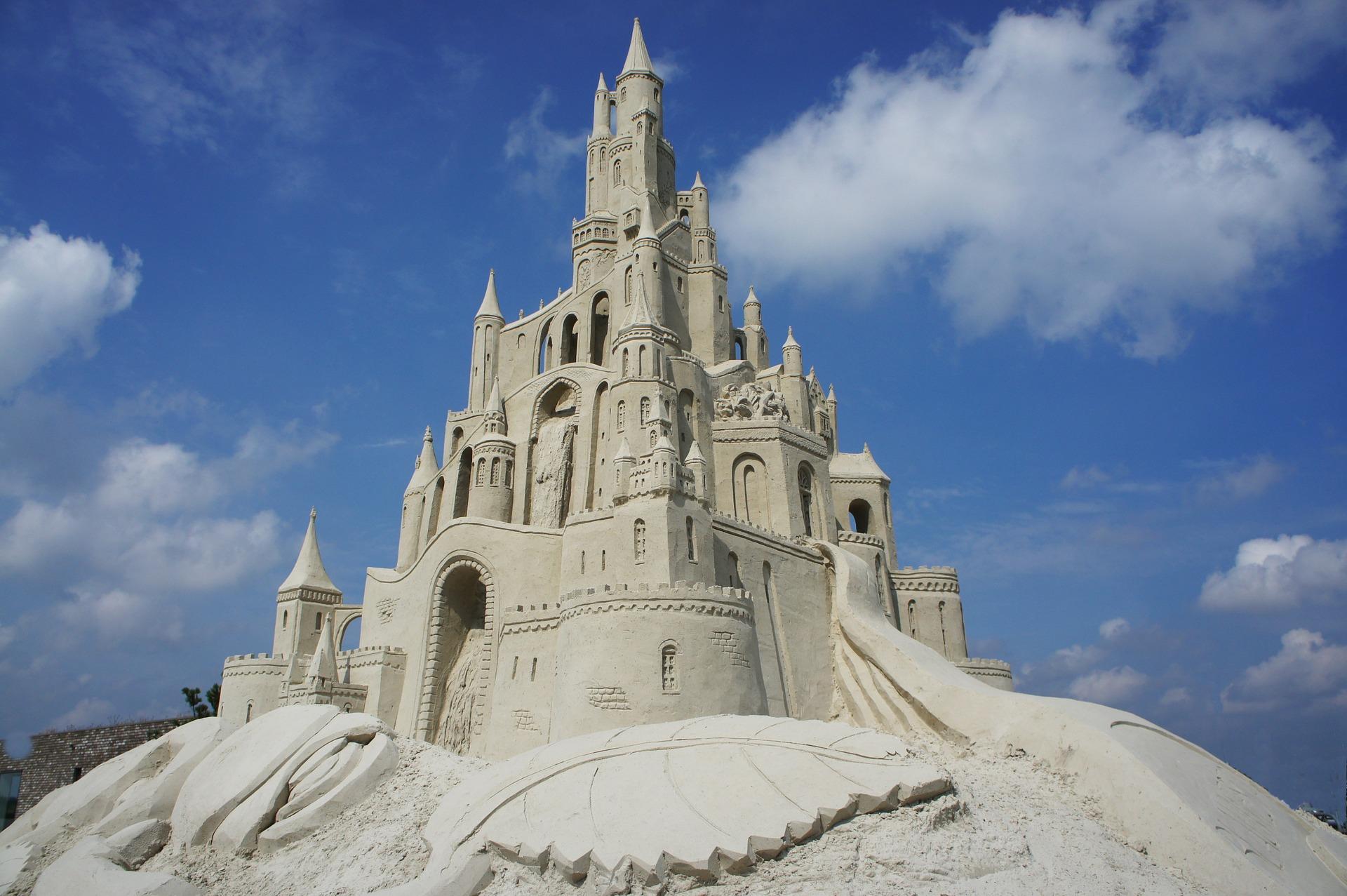A massive multiple story sand castle